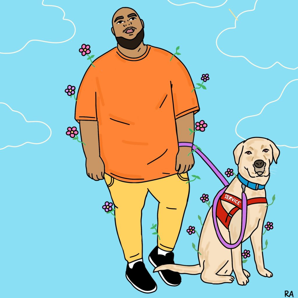 "Graphic illustration. A figure wearing an oversized bright orange shirt, yellow skinny pants, and black running shoes. He has a bald head, a thick beard, thin mustache, thick eyebrows, and light brown skin. His head and gaze tilts upwards. His labrador service dog is sitting to his left. His service dog wears a red vest labeled ""service,"" a blue collar, and a purple leash. Pink flowers sprout out of the body and his service dog. Background is light blue with white illustrations of clouds in the top half. Illustration by Rana Awadallah."