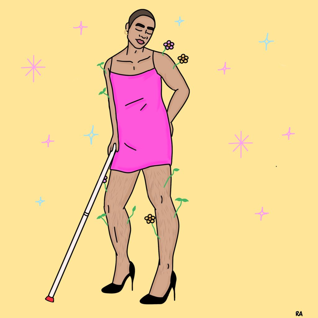 A graphic illustration of a person wearing a short pink dress, gold hoop earrings, and black stiletto heels. They have olive skin, hairy legs, a buzz-cut, thick eyebrows, and pink lips. They hold their white cane on their right hand. Their right knee is slightly bent, and their left hand is resting on their left hip, left arm is slightly bent at the elbow. Their eyes are closed. Green twigs and variously coloured flowers sprout out of their arms and legs. Background is a light yellow and features pink and blue illustrated stars. Illustration by Rana Awadallah.