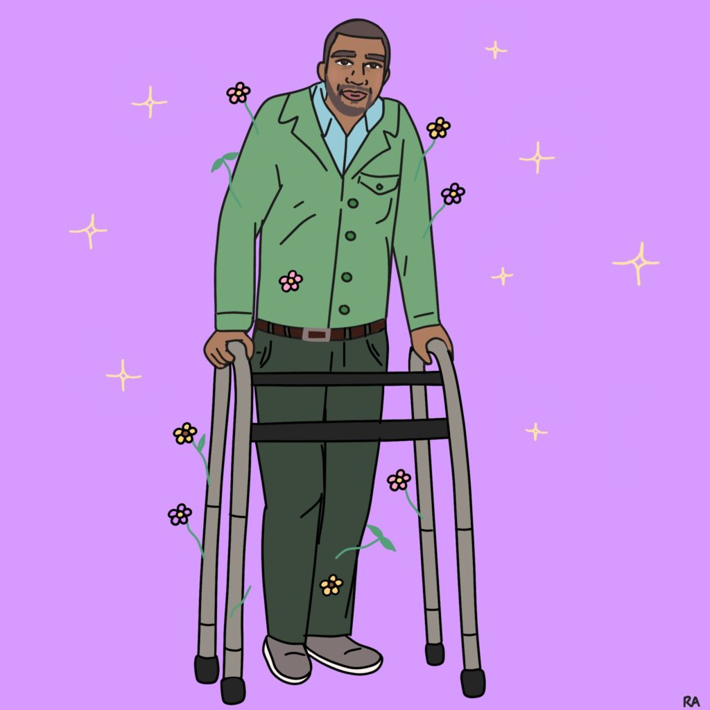 A graphic illustration of a man wearing dark green pants, a light green sweater over a blue button-down. He has medium-dark skin, dark brown hair and eyebrows, and a five-o'clock shadow beard. Both hands are rested on the walker in front of him. Pink and yellow flowers sprout out of his upper arms and the walker. Background is light purple with cream stars. Illustration by Rana Awadallah.